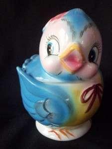 VTG 1950 GEO Z LEFTON BLUEBIRD BLUE BIRD SUGAR BOWL JAR
