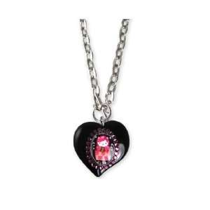 Tarina Tarantino Hello Kitty Pink Head Portrait Heart Necklace   Black