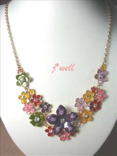 Premier Jewelry Colorful Bloom w/Crystal Pistil Necklace for