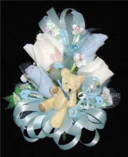 Baby Shower Corsage 3 Bear Set with Blue Ribbons