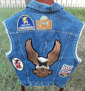 Folk Art Amazing VTG Denim Blue Jean Motorcycle Bikers Vest Harley