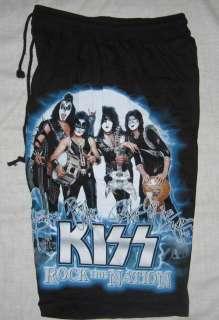 KISS Music Band Black Board Shorts   Free Size   NEW