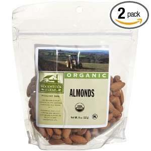 Woodstock Farms Almonds, Organic, 8 Ounce Bags (Pack of 2)