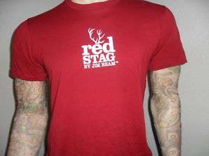 JIM BEAM RED STAG T SHIRT whiskey bourbon booze RED L