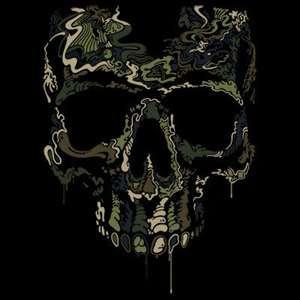 Skull Camouflage Liquid Blue Design Short or Long Sleeve TShirt