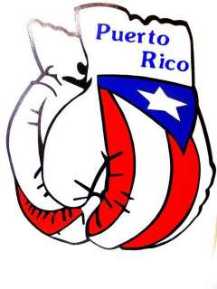 PUERTO RICO BOXING GLOVES WITH FLAG DECAL STICKER