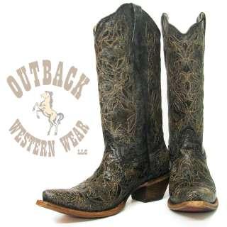 Corral Ladies Black Laser Cut Boot A1957 Size 8 B