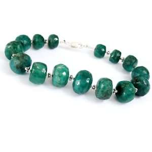 Awesome Natural Faceted Green Emerald Beaded Bracelet