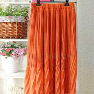 Colored Pleated Elastic Waist Band Long Sweet Maxi Skirt Dress