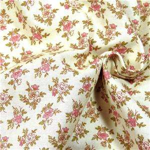 Henry Glass Cotton Fabric Sweet Pink Flowers on Cream, By the Yard