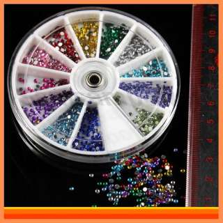3D Nail Art Tips Multi Colors Crystals Stickers Gems Glitters Acrylic