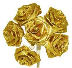 Gold Metallic Ribbon Roses Wedding Bridal Hair