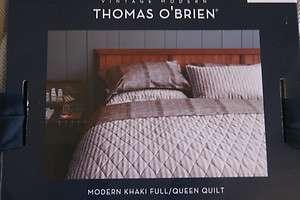 NEW Thomas OBrien Modern Khaki Coverlet Quilt FULL/QUEEN Bedding NIP
