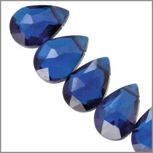 10 CZ Pear Briolette Beads 4x6 Sapphire Blue #64650