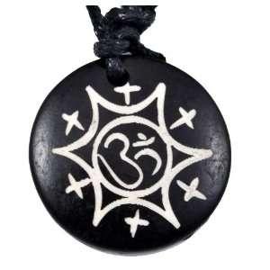 Yak Bone Cotton String Star Om Sign Necklace, #6, Om Symbol Necklace