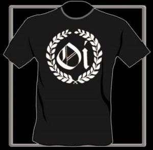 Oi Wreath T Shirt blk wht.Oi logo Skinhead Punk S XXL