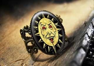 Evil Sun Ouija Board Devil Gothic Vampire Antique Bronze Horror Ring