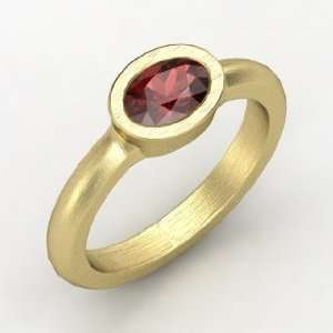 Byzantium Ring, Oval Red Garnet 14K Yellow Gold Ring