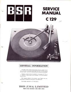BSR C129 C 129 ORIGINAL SERVICE MANUAL FREE USA SHIP