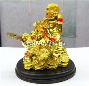 Chinese Oriental Gold Golden Happy Lucky Money Frog Buddha Coin #BF