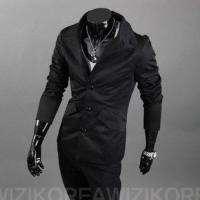 NEW Mens Korean Slim Fit Style Classic Fashion Jacket Coat Black 1792