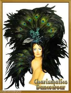 PEACOCK Drag Queen CABARET Feather Backpack Headdress