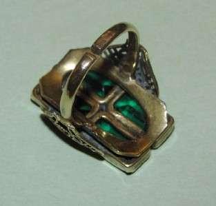 VTG Antique VICTORIAN~Emerald GREEN Stepped CZECH GLASS Filigree GOLD