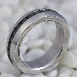 MenS Stainless Steel Black CZ Wedding Ring R18 SZ8