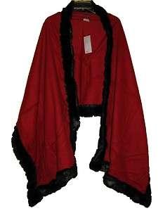 womens red black Cashmere Wool blend faux fur wrap cape ruana jacket