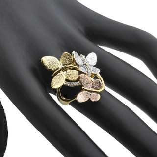 14K Gold Plated 3 tone Ring,Swarovski Crystal 3 Butterfly Size 6 8