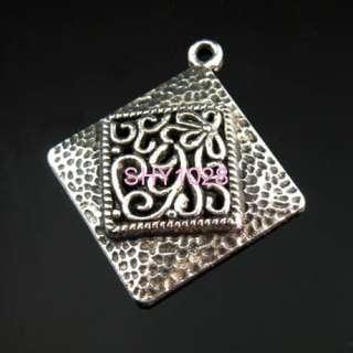 Tibetan silver Big Square Flower pendants 26.5mm#276A