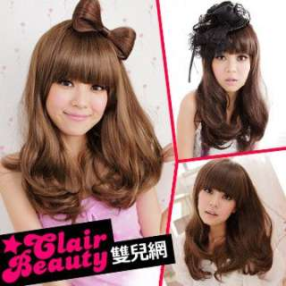 bangs natural curly medium Full hair wig & Cap S0022 LWXW3009