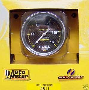 AUTOMETER CARBON FIBER 15 PSI FUEL PRESSURE GAUGE 2 5/8