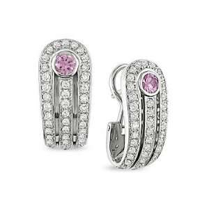1 1/2 Carat Pink Sapphire and Diamond Earrings 18K White
