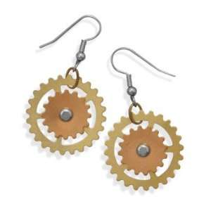 Steampunk Style Gold Tone and Rose Color Gear Fashion French Wire