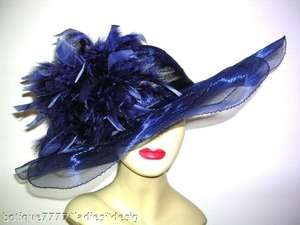 Fancy Special Occasion Navy Blue Hat Chapeau Dress Hats