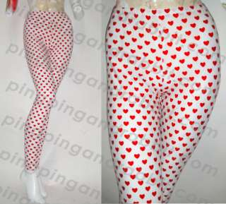 Red Hearts Spandex Leggings Pants Tights Valentine
