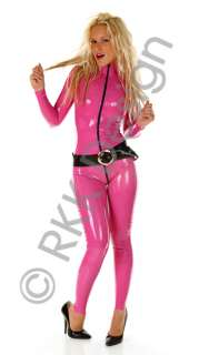 HOT DEEP PINK Rubber Latex Catsuit 2nd Skin Dress XXXL
