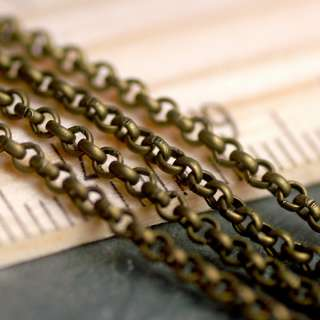 12ft Antique Bronze Plated Metal Chain Rolo Round Link Chains 2x2mm