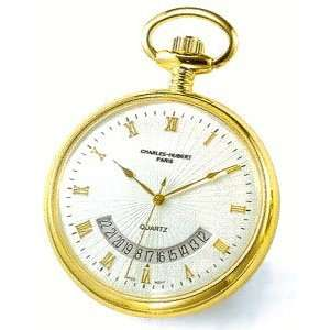 14k Gold plated Open Face, Gold Roman Numeral White Dial Pocket Watch
