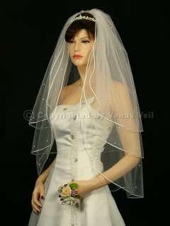 3T Ivory Wedding Bridal Rattail 60 Rhinestones Veil