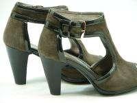 SOFFT Brown Suede Peep Toe Gladiator Heels Platform 7.5