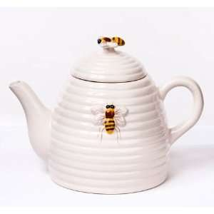 Honey Bee Hive Beehive Teapot, 6.25 Inch, White with Bees