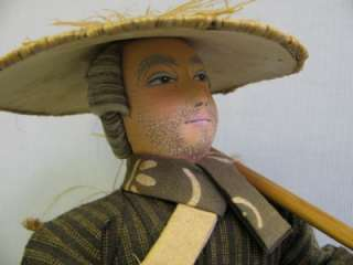 16 Hand Painted Cloth Japanese Farmer Doll wooden bucket with straw