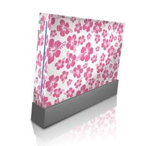 Pink Hibiscus Design Skin Decal Sticker for Nintendo Wii