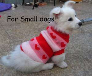 Cute heart pattern pink/red Small dog pet sweater coat apparel hoodie