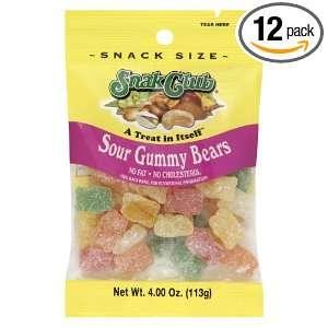 Snak Club Sour Gummy Bears, 4 Ounce Bags Grocery & Gourmet Food