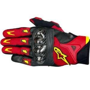 Alpinestars SMX 2 Air Carbon Fiber Leather Motorcycle Gloves Black/Red