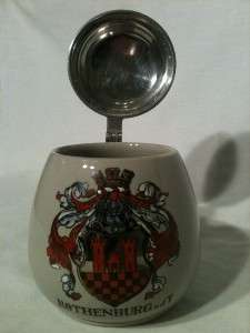 German Lidded Beer Stein Rothenburg o.d.T.