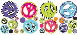 26 New ZEBRA PRINT PEACE SIGNS & POLKA DOTS WALL DECALS Girls Modern